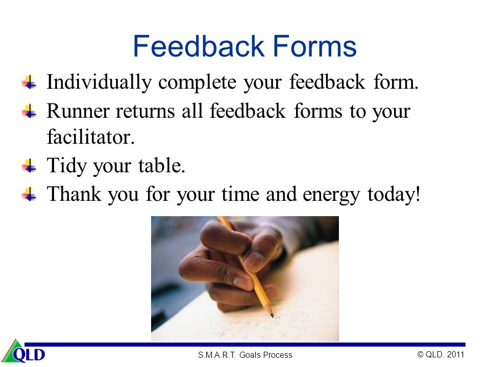 Feedback Forms Individually complete your feedback form.