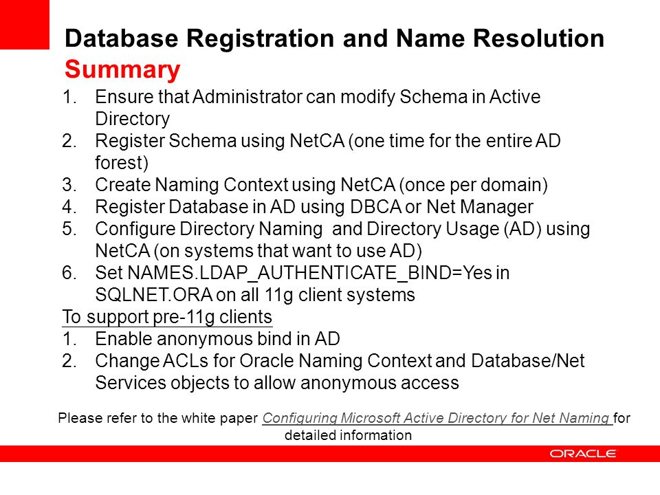 Database Registration and Name Resolution Summary
