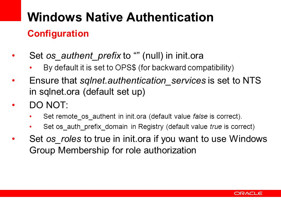 Windows Native Authentication Configuration