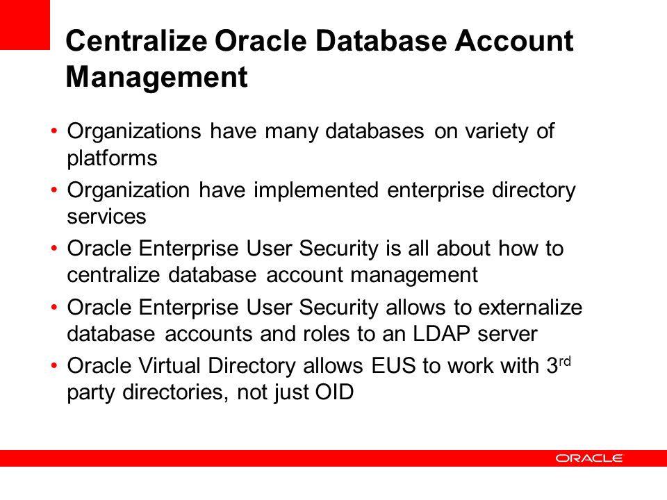 Centralize Oracle Database Account Management