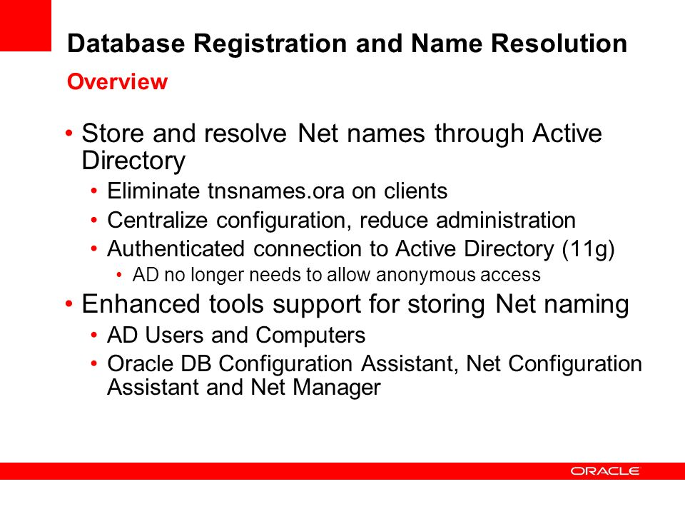 Database Registration and Name Resolution Overview