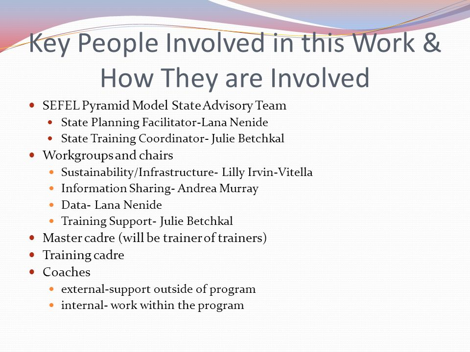 Key People Involved in this Work & How They are Involved