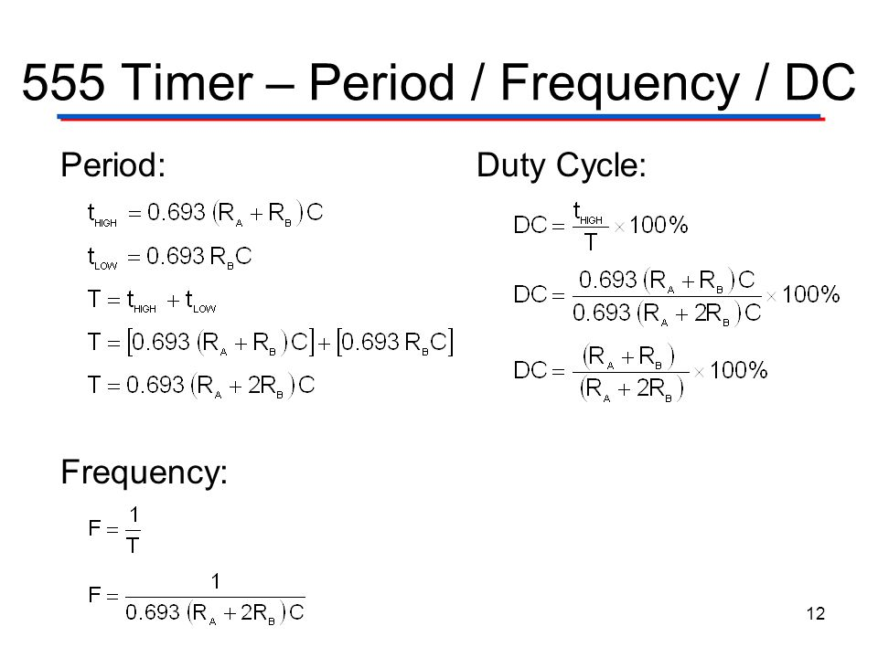 555 Timer – Period / Frequency / DC