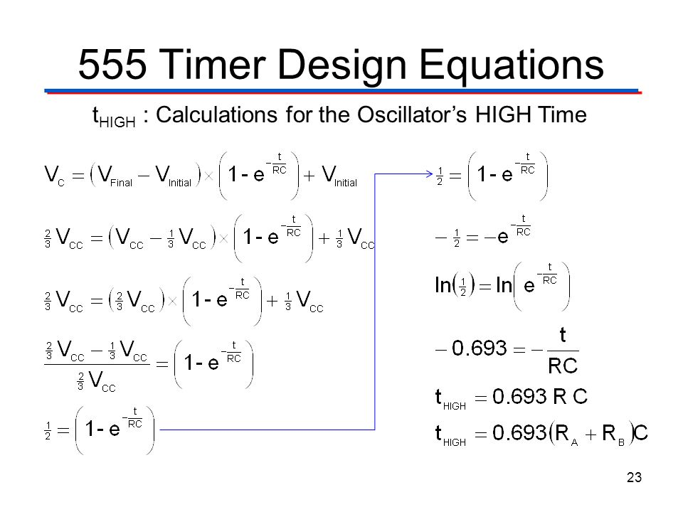 555 Timer Design Equations