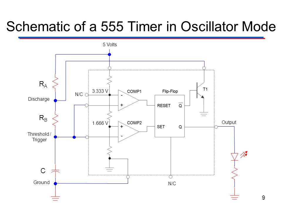 Schematic of a 555 Timer in Oscillator Mode