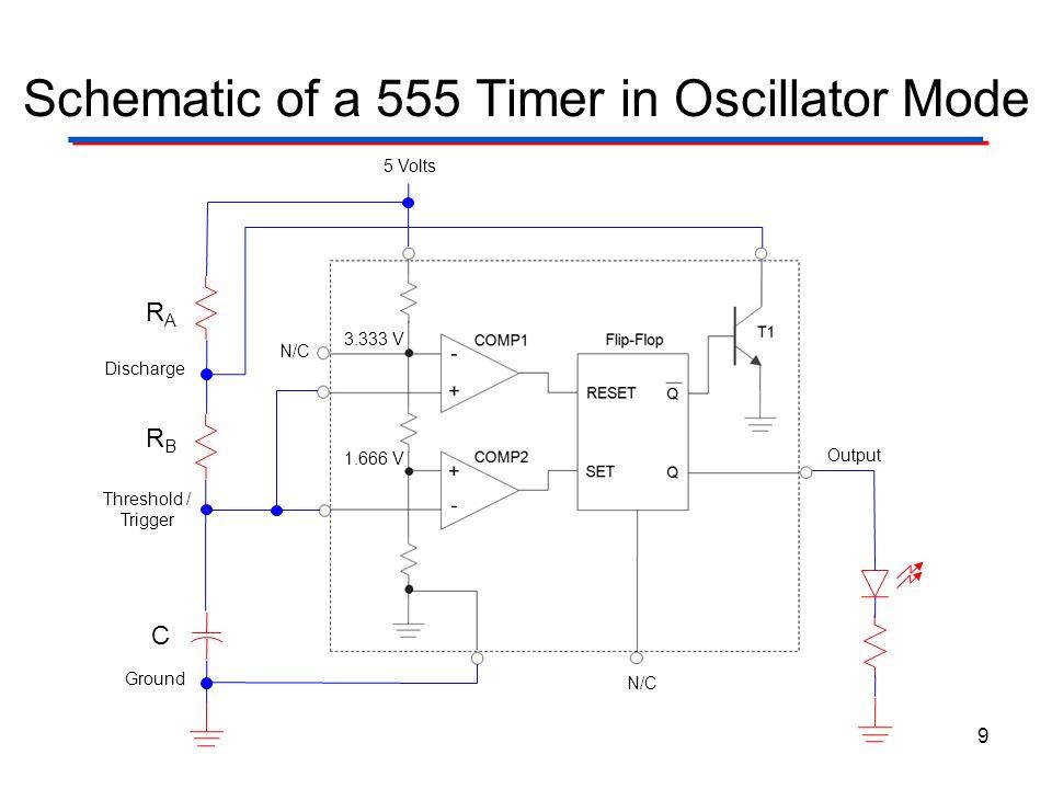 Schematic of a 555 Timer in Oscillator Mode