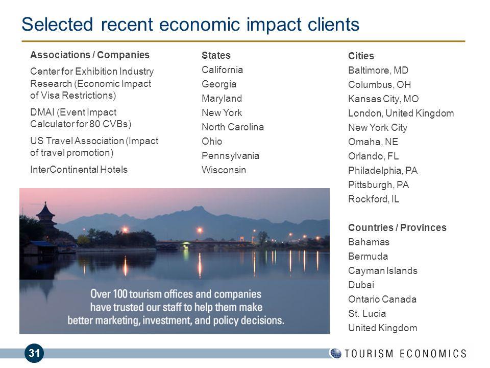 Selected recent economic impact clients
