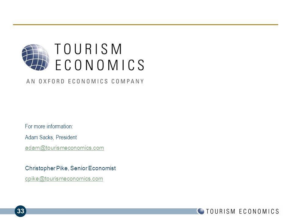 For more information: Adam Sacks, President adam@tourismeconomics.com