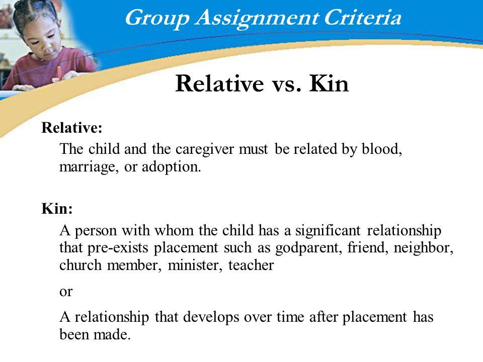 Group Assignment Criteria