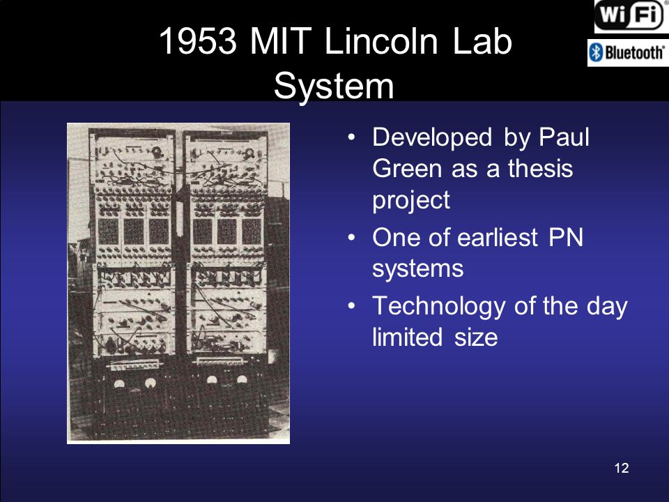 1953 MIT Lincoln Lab System Developed by Paul Green as a thesis project. One of earliest PN systems.
