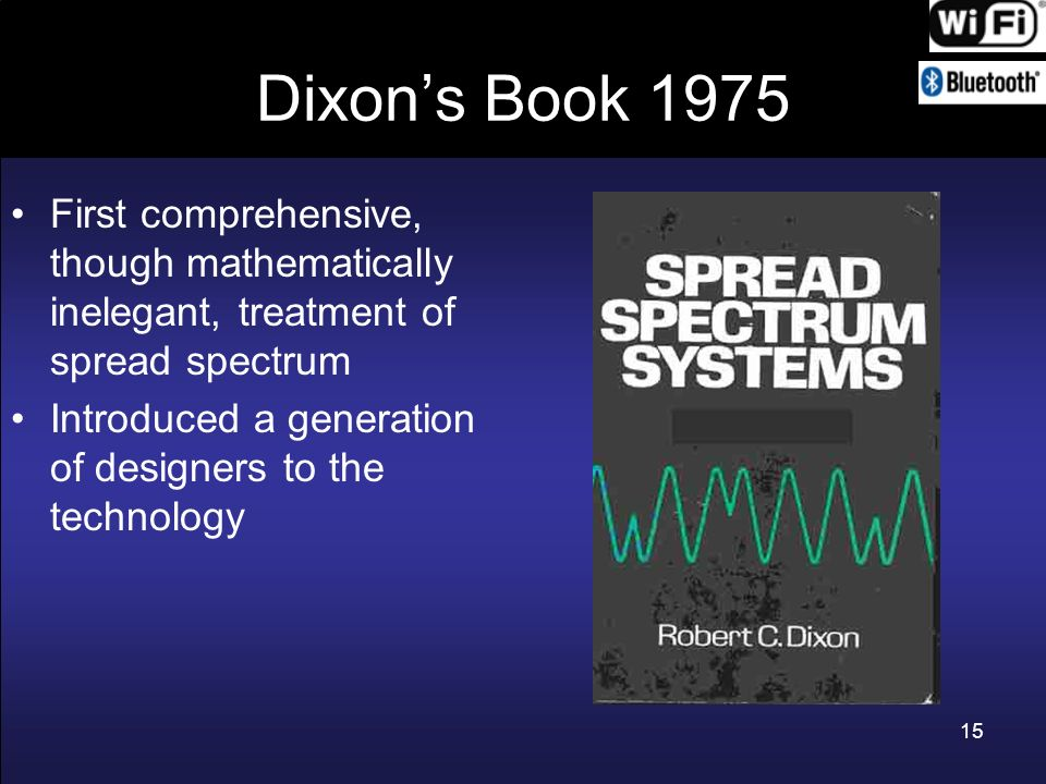 Dixon's Book 1975 First comprehensive, though mathematically inelegant, treatment of spread spectrum.