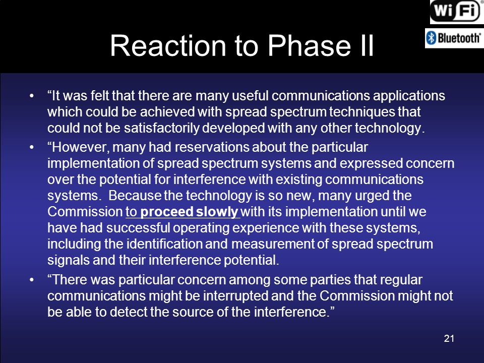 Reaction to Phase II