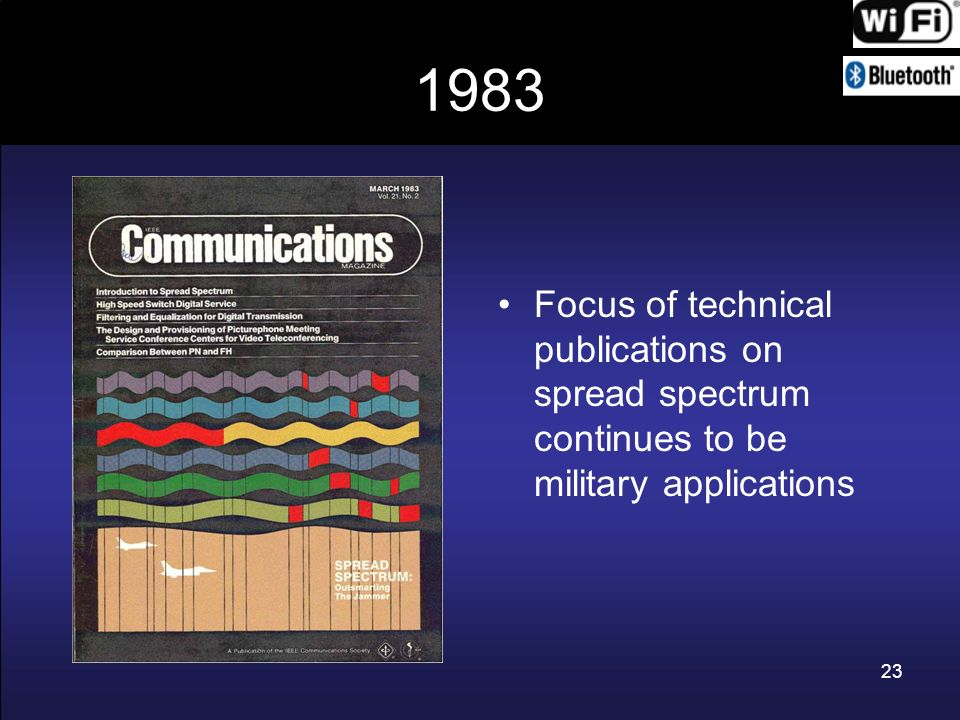 1983 Focus of technical publications on spread spectrum continues to be military applications