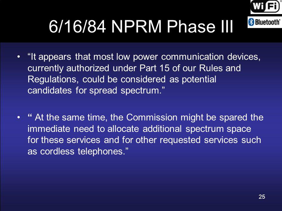 6/16/84 NPRM Phase III