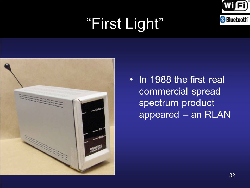 First Light In 1988 the first real commercial spread spectrum product appeared – an RLAN