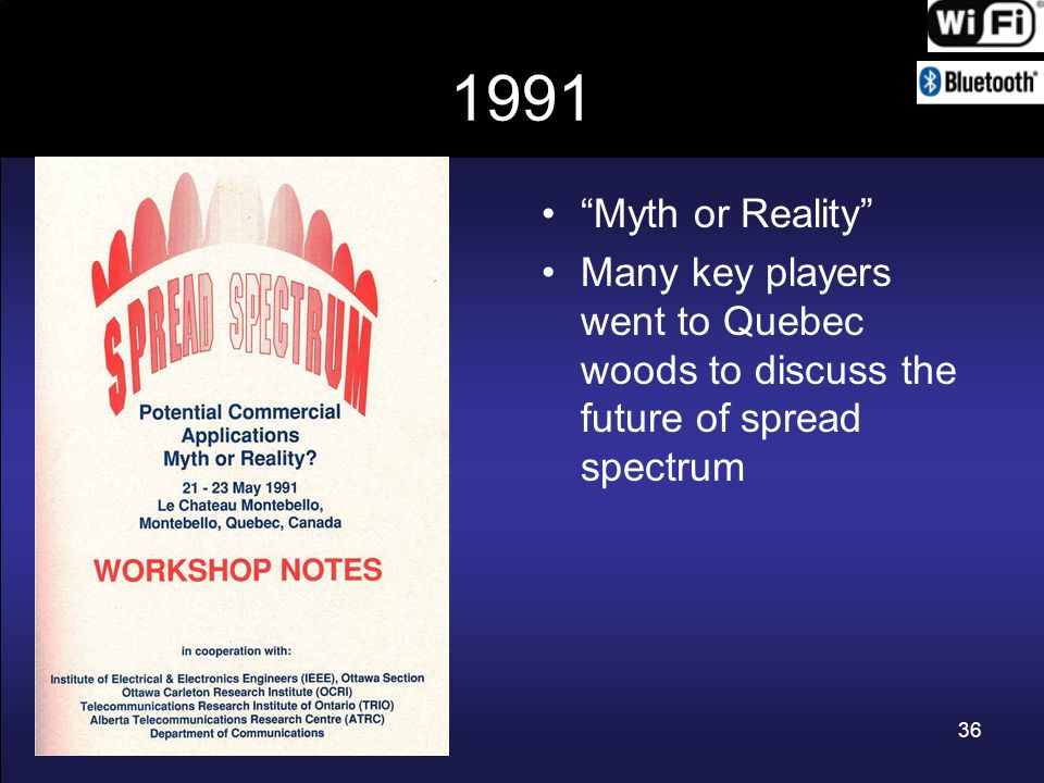 1991 Myth or Reality Many key players went to Quebec woods to discuss the future of spread spectrum.