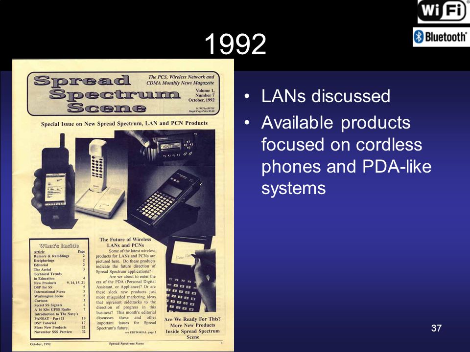 1992 LANs discussed Available products focused on cordless phones and PDA-like systems