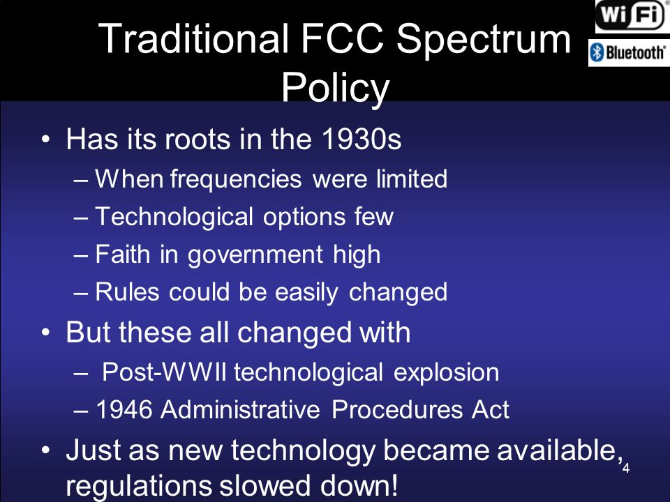 Traditional FCC Spectrum Policy