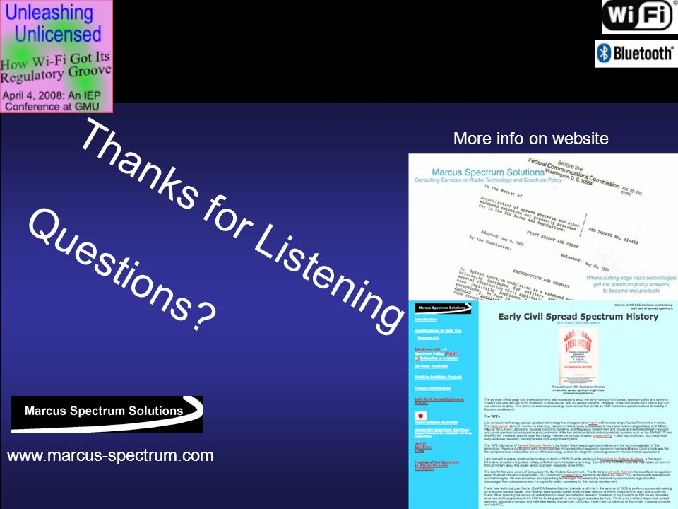 Thanks for Listening Questions More info on website