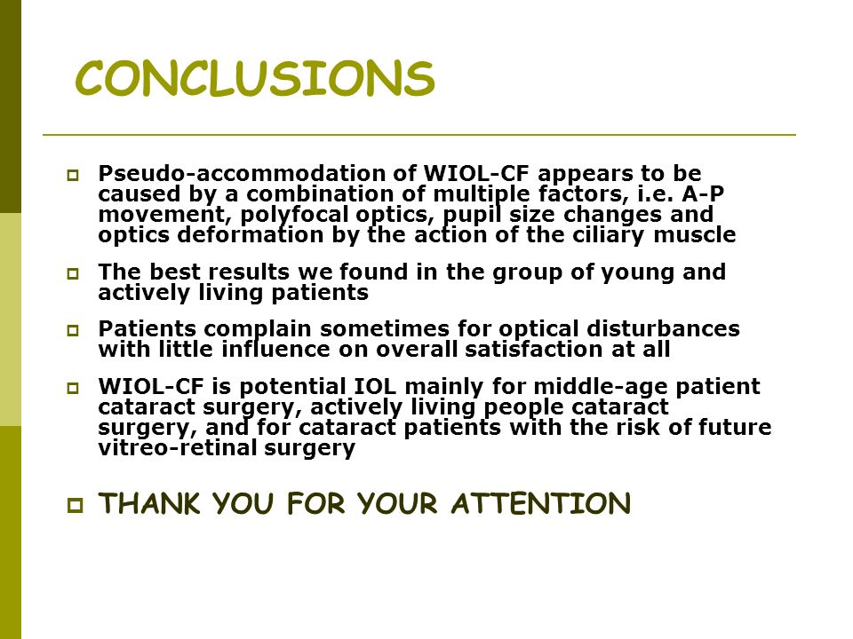 CONCLUSIONS THANK YOU FOR YOUR ATTENTION