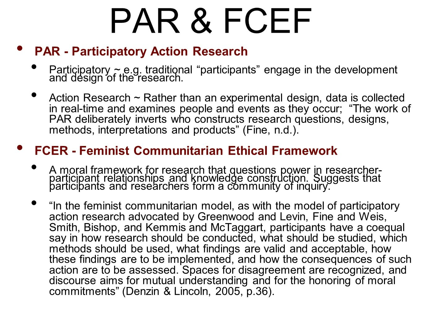 PAR & FCEF PAR - Participatory Action Research