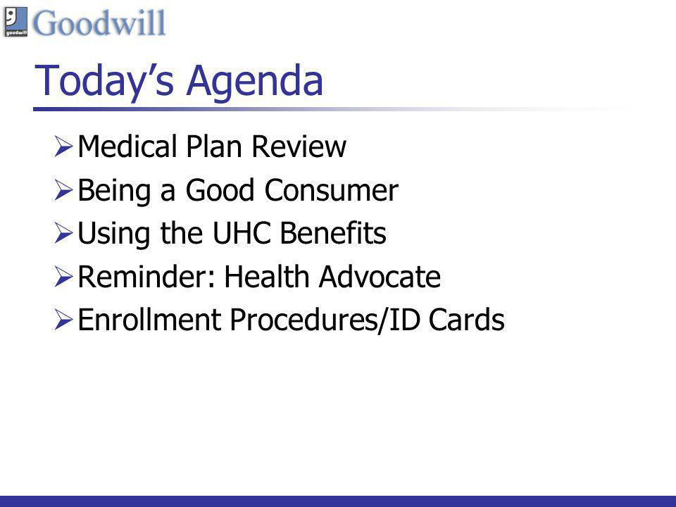 Today's Agenda Medical Plan Review Being a Good Consumer