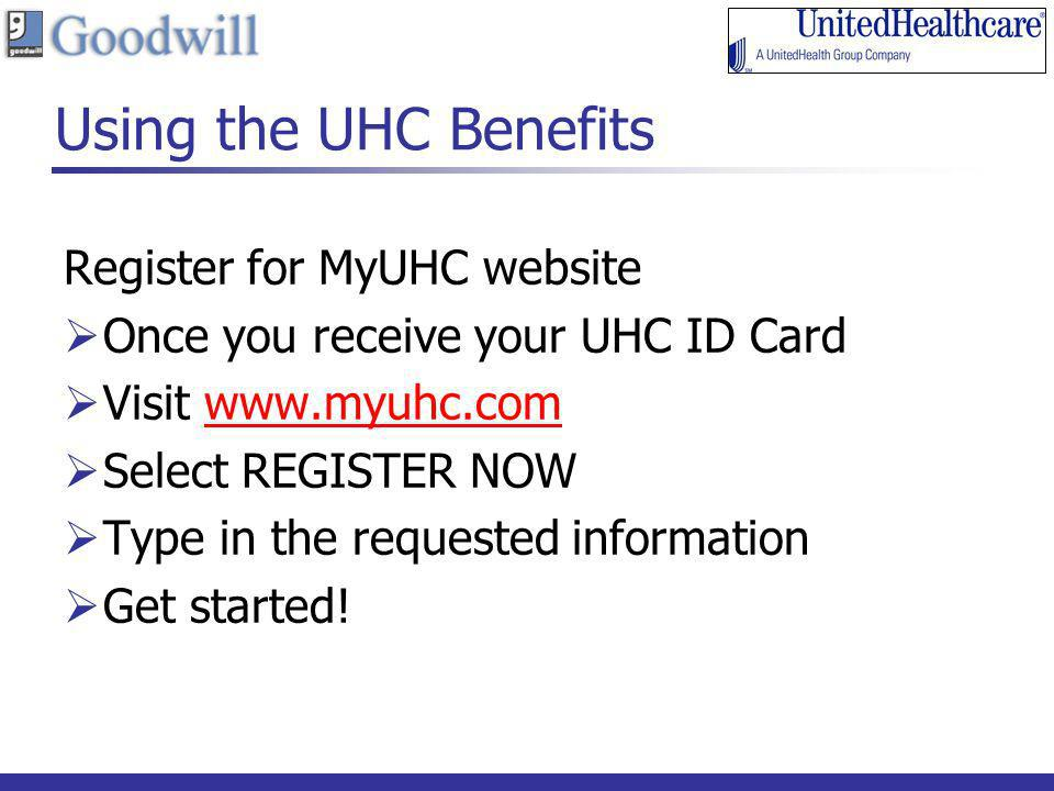 Using the UHC Benefits Register for MyUHC website