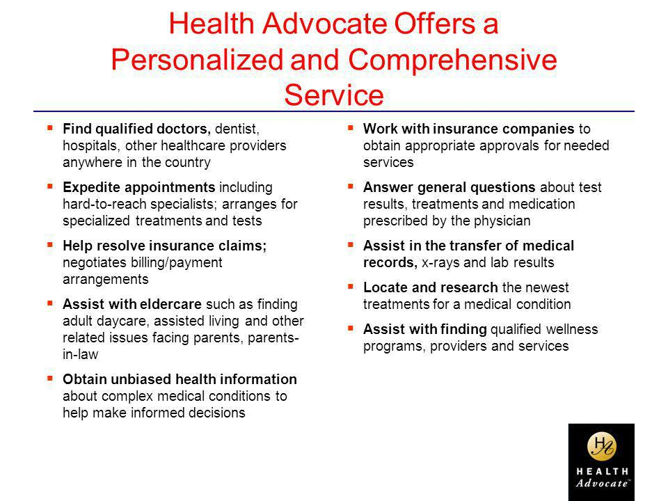 Health Advocate Offers a Personalized and Comprehensive Service