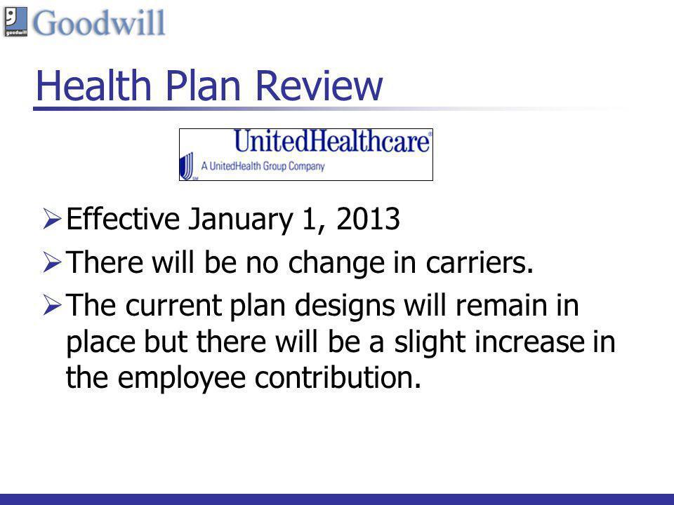 Health Plan Review Effective January 1, 2013