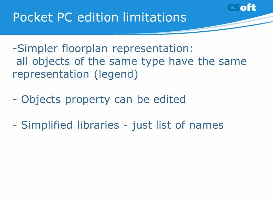 Pocket PC edition limitations