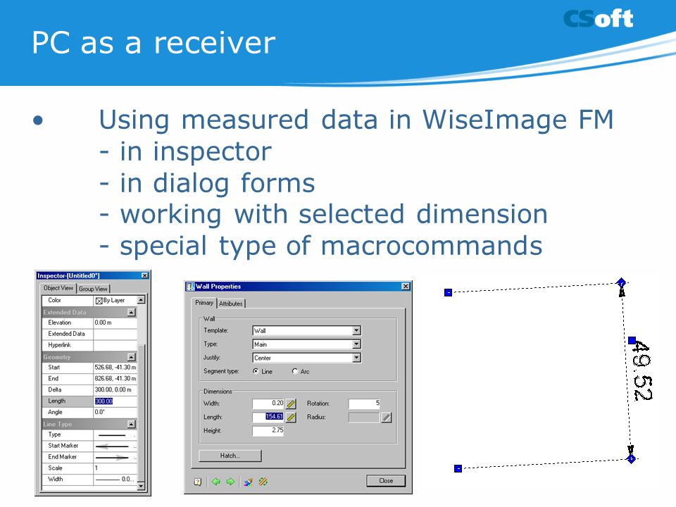 PC as a receiver • Using measured data in WiseImage FM - in inspector