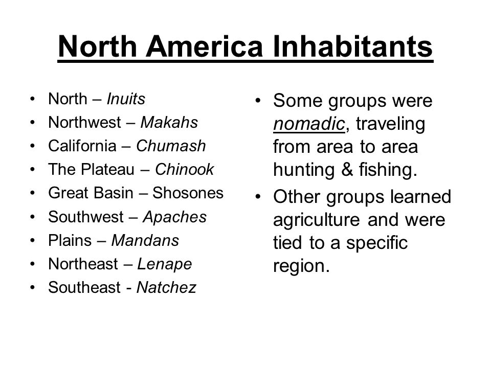 North America Inhabitants