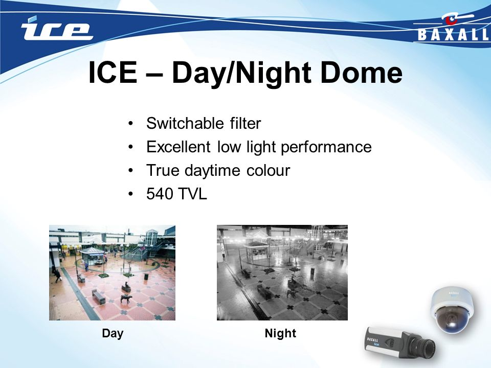 ICE – Day/Night Dome Switchable filter Excellent low light performance