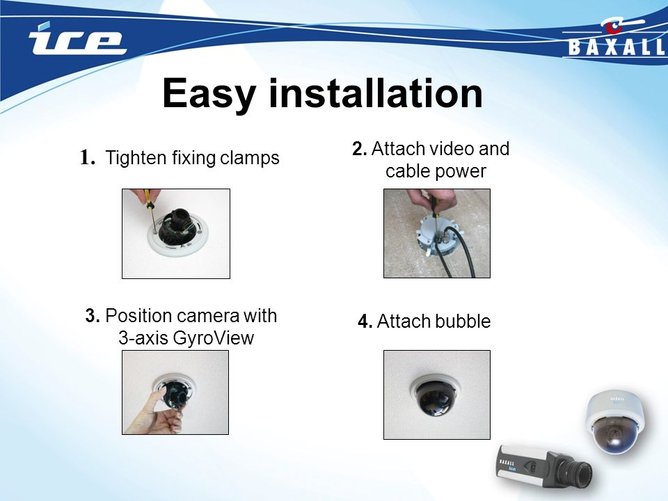 Easy installation 1. Tighten fixing clamps