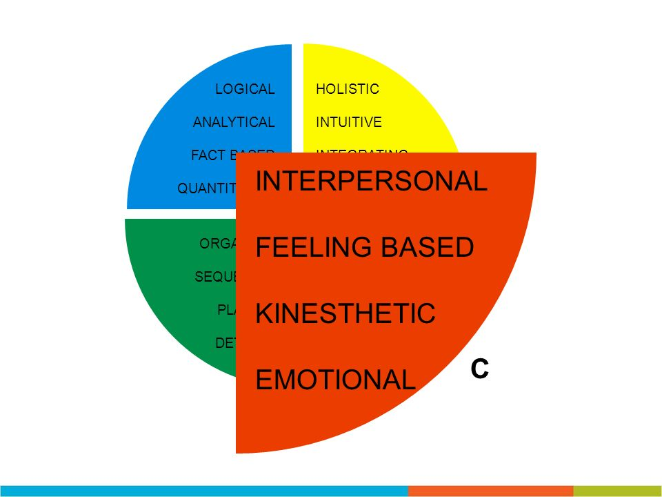 INTERPERSONAL FEELING BASED KINESTHETIC EMOTIONAL C LOGICAL ANALYTICAL