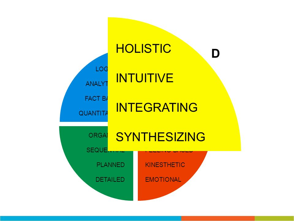 HOLISTIC D INTUITIVE INTEGRATING SYNTHESIZING LOGICAL ANALYTICAL