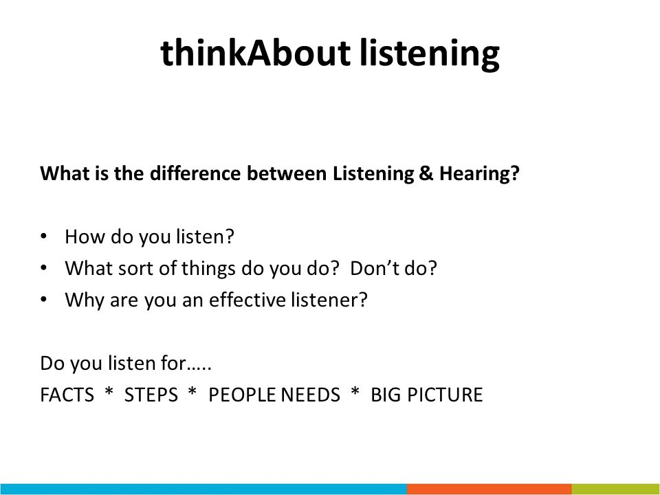 thinkAbout listening What is the difference between Listening & Hearing How do you listen What sort of things do you do Don't do