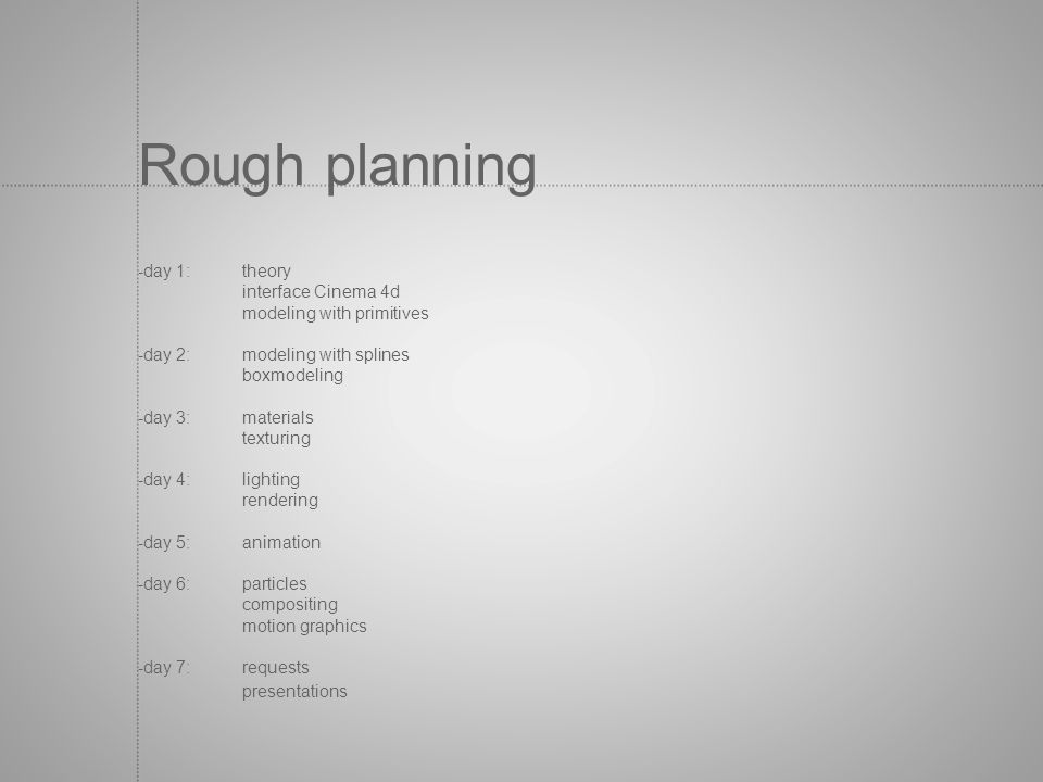 Rough planning -day 1: theory interface Cinema 4d