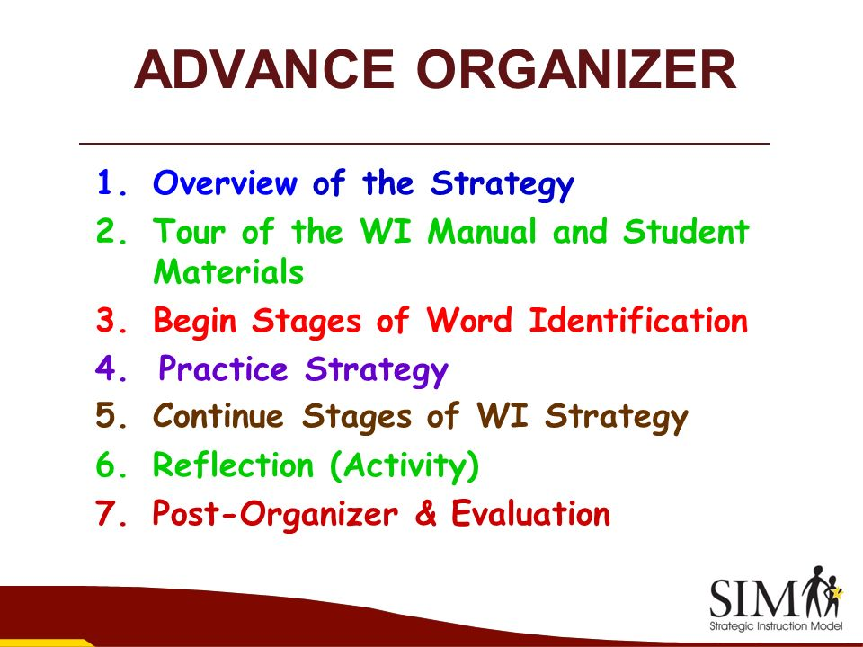 ADVANCE ORGANIZER Overview of the Strategy