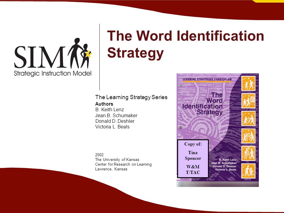 The Word Identification Strategy