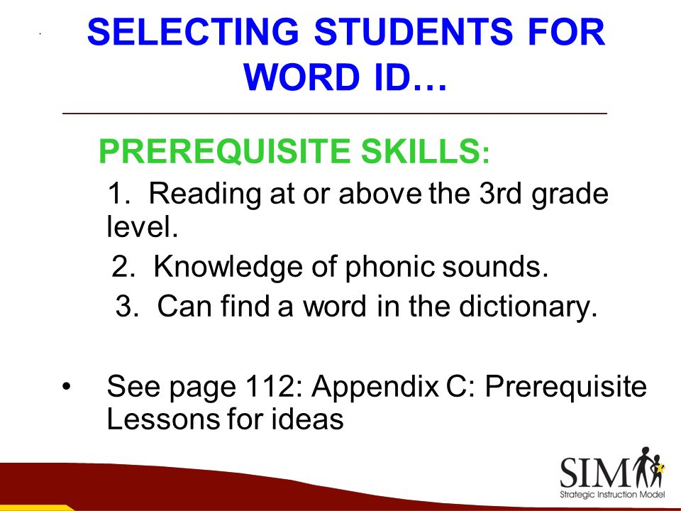 SELECTING STUDENTS FOR WORD ID…
