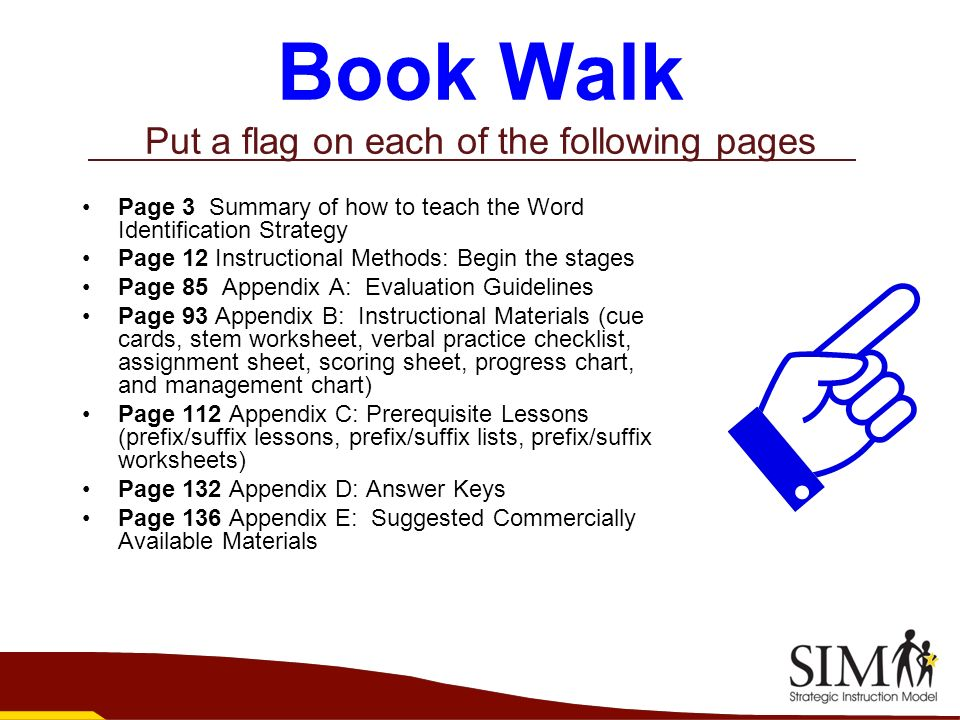 Book Walk Put a flag on each of the following pages