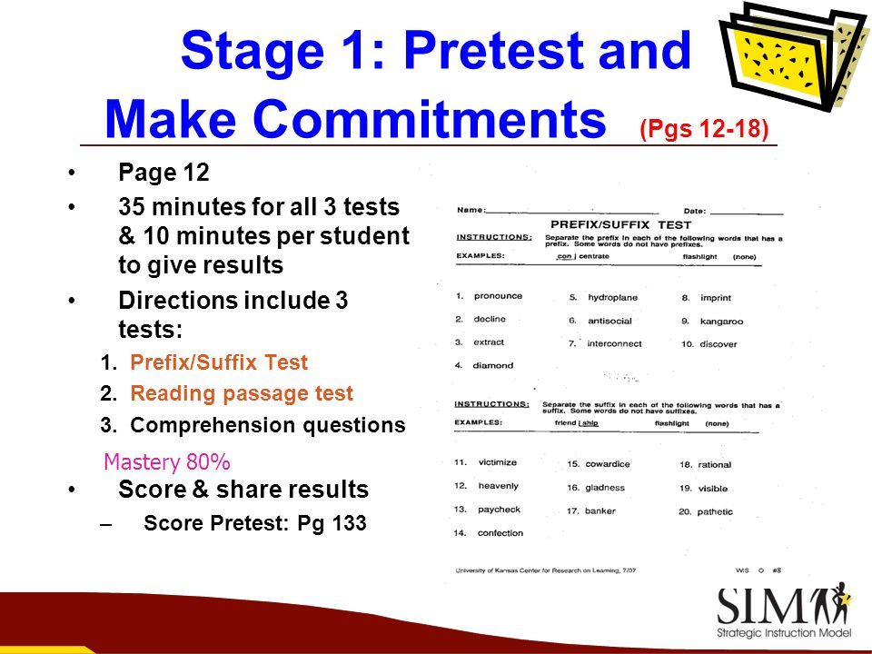 Stage 1: Pretest and Make Commitments (Pgs 12-18)