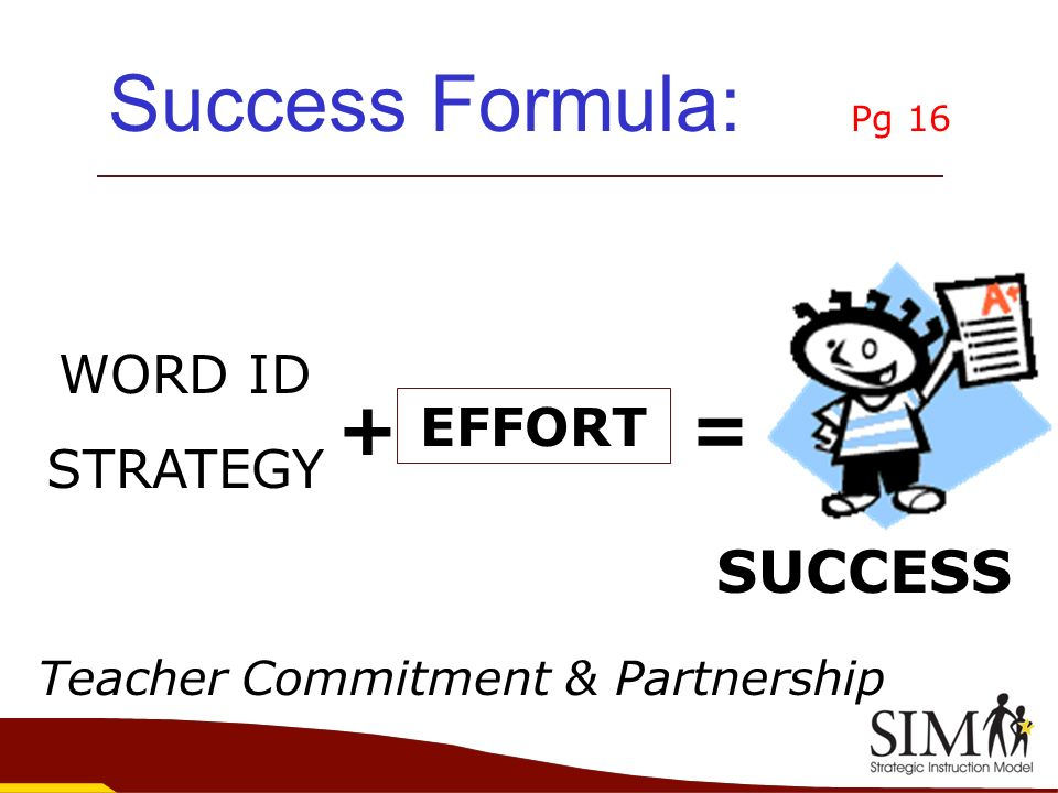 Success Formula: Pg 16 + = SUCCESS WORD ID STRATEGY EFFORT