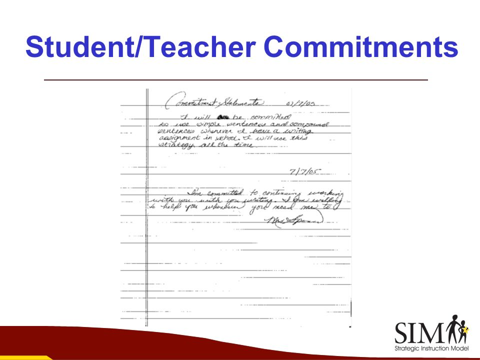 Student/Teacher Commitments
