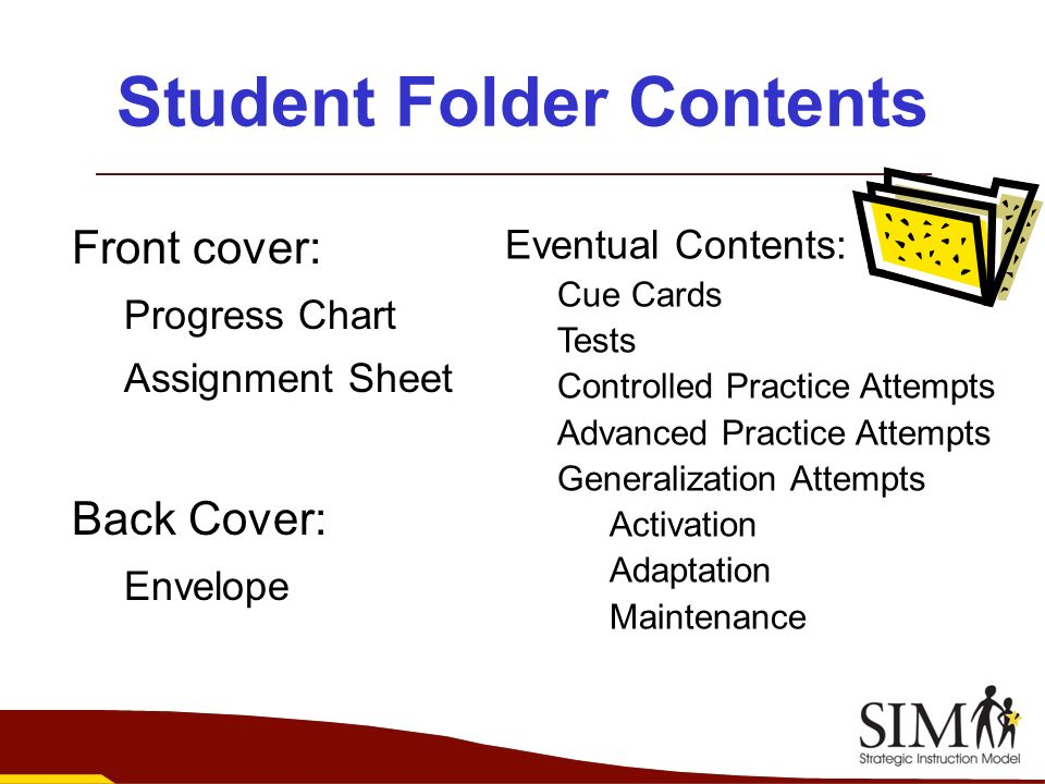 Student Folder Contents