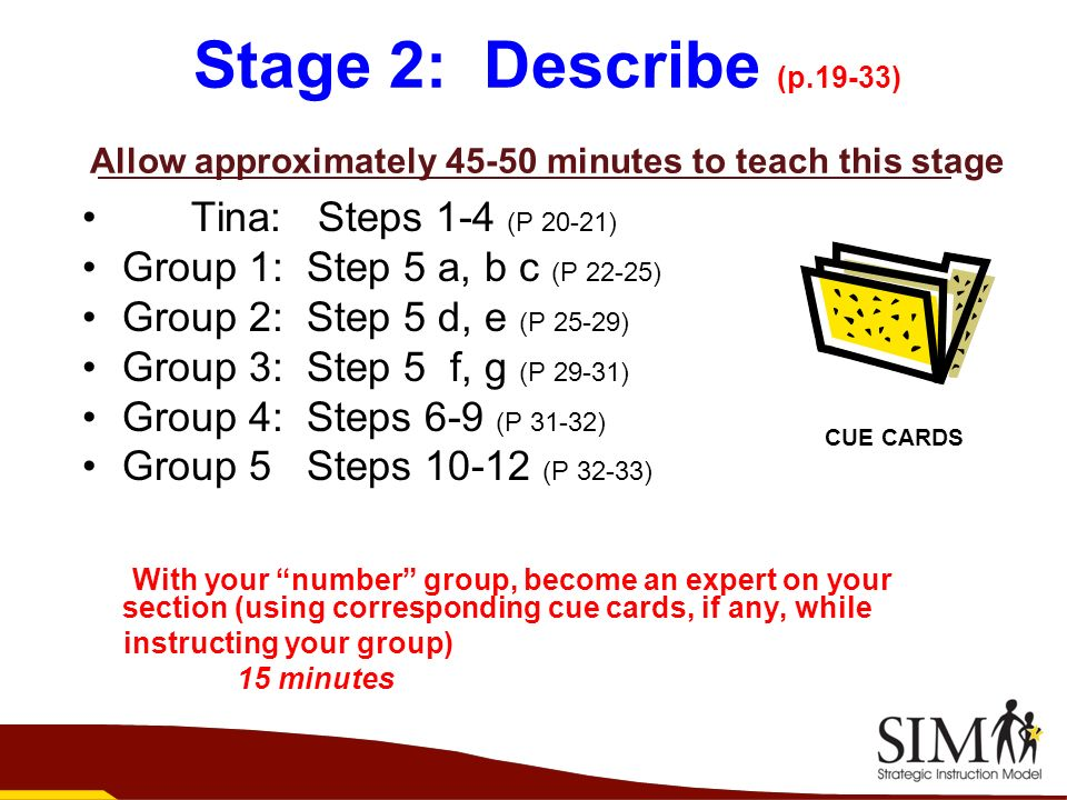 Stage 2: Describe (p.19-33) Allow approximately 45-50 minutes to teach this stage