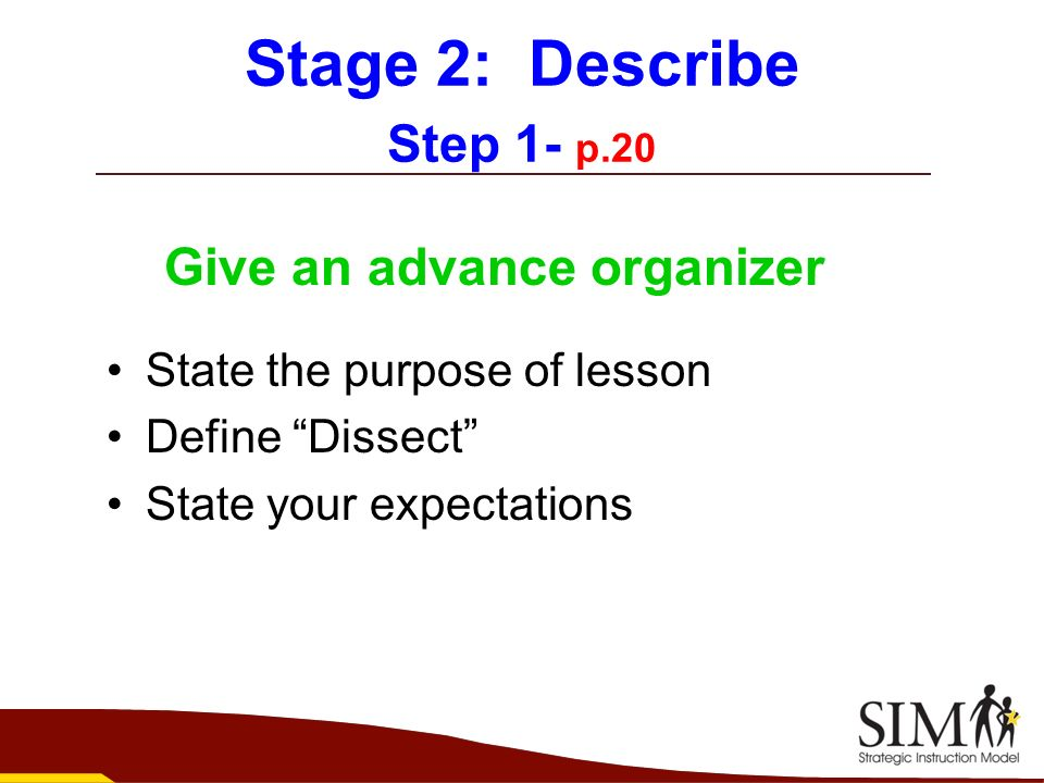 Stage 2: Describe Step 1- p.20