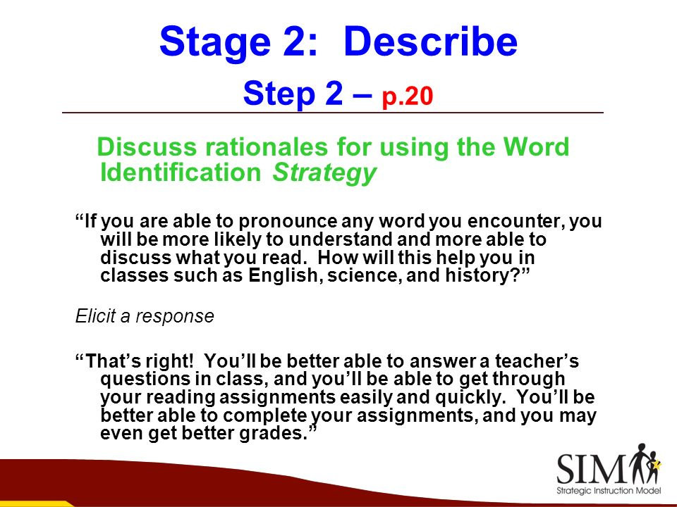 Stage 2: Describe Step 2 – p.20