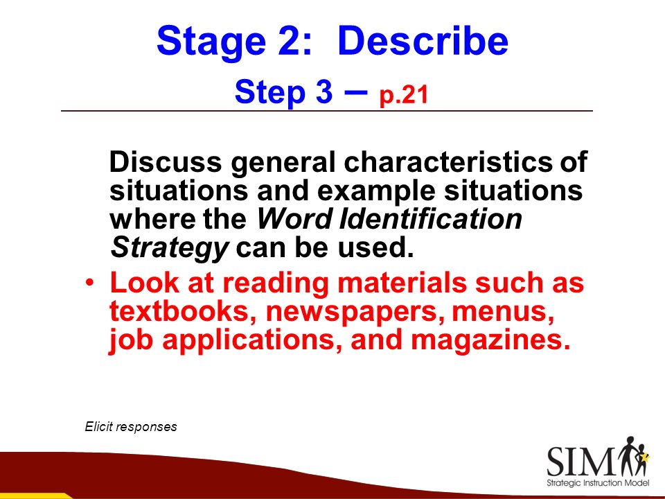 Stage 2: Describe Step 3 – p.21
